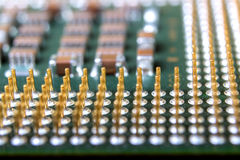 The micro elements of computer central processor unit, CPU contact pins Royalty Free Stock Photos