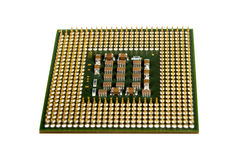 The micro elements of computer central processor unit, CPU contact pins Royalty Free Stock Photography