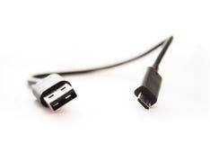 Micro fine del cavo di USB su Immagini Stock