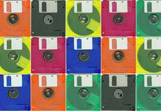 Micro floppy disc color. Colours collage background whit micro floppy disc Royalty Free Stock Photos