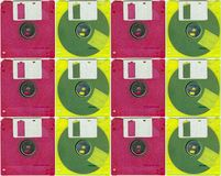 Micro floppy disc yellow red Royalty Free Stock Photos