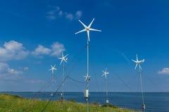 Micro grid wind turbines. Pampus island, ijmeer, the Netherlands - August 30, 2016: micro grid wind turbines Royalty Free Stock Photos