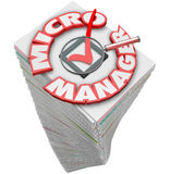 Micro Manager 3d Words Paperwork Stack Pile Royalty Free Stock Photos
