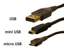 Micro, mini e spine standard di USB confrontate Fotografie Stock