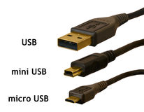 Micro, mini and standard USB plugs compared Stock Photos