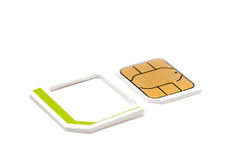 Micro nano simcard isolated on white background.  Stock Image