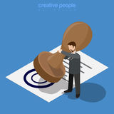 Micro office worker man make huge stamp document f Stock Photo