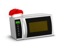 Micro-ondas do Natal sobre o branco fotografia de stock