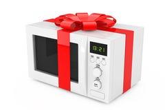 Micro-ondas Oven Gift com fita e curva vermelhas rendição 3d Imagens de Stock Royalty Free