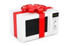 Micro-ondas Oven Gift com fita e curva vermelhas rendição 3d Imagem de Stock
