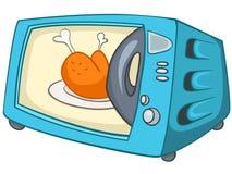 Micro-onde à la maison de cuisine de dessin animé Image libre de droits