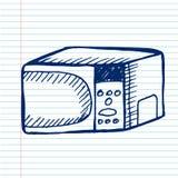 Micro-onde sur le cahier Image libre de droits