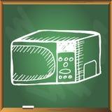 Micro-onde sur le tableau vert Photographie stock libre de droits