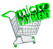Micro Payments Shopping Cart Buy Send Money Digital Store. Micro Payments word on a green computer keyboard key or button for sending money to a digital store in Stock Photography