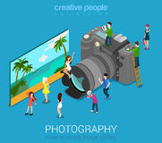 Micro people and DSLR photo camera Royalty Free Stock Photos