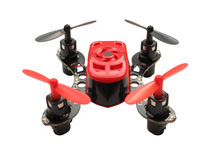 Micro quadcopter. Isolated on white stock photography