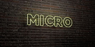 MICRO -Realistic Neon Sign on Brick Wall background - 3D rendered royalty free stock image Royalty Free Stock Image