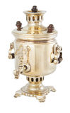 Micro samovar isolated. 2 inch golden samovar souvenir isolated on white background Royalty Free Stock Photography
