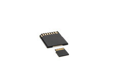 Micro sd adapter and micro sd card isolated Royalty Free Stock Images