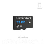 Micro SD card. Memory chip on white background Royalty Free Stock Photos