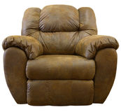 Micro Suede Rocker Recliner. Brown Micro Suede Fabric Rocker Recliner Chair Royalty Free Stock Photos