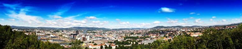 Micro toy panorama of  Oslo city background Royalty Free Stock Photography