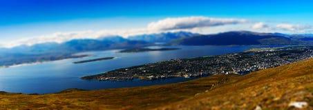 Micro toy panorama of  Tromso city background Royalty Free Stock Photos