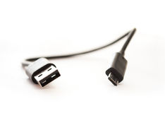Micro USB cable close up Stock Images
