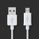 Micro USB cables. Connectors, sockets for PC and mobile devices. Royalty Free Stock Photos