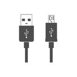 Micro USB cables icon. Connectors, sockets for PC and mobile. royalty free illustration