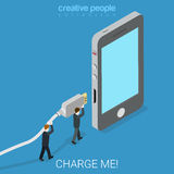 Micro USB power charger flat isometric vector 3d Stock Photos