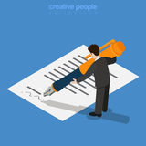 Micro worker man sign document huge ink pen flat 3. Isometric business concept. Micro office worker man sign approve by printed document huge ink pen. Flat 3d Royalty Free Stock Image