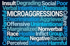 Microaggressions Word Cloud. On Blue Background stock illustration