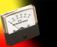 Microamperes Panel Meter. Panel meter against dramatic colored background with copyspace Royalty Free Stock Photos