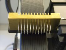 Microarray spotter. Print head of a microarray spotter used to make DNA chips stock photo