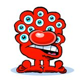 Microbe caricature cartoon. Red microbe caricature cartoon with many eyes Royalty Free Stock Images