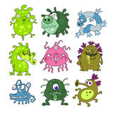 Microbes collection. Collection of nine cute cartoon microbes isolated Royalty Free Stock Photography