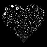 Microbes Fireworks Heart. Microbes fireworks with heart shape. Raster illustration style is flat white iconic symbols on a black background. Object heart done Stock Image