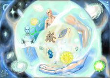 Microbes, people and universe. About microbes, people and universe Stock Image