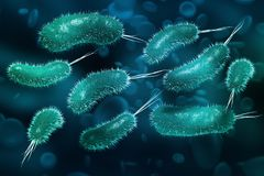 Microbes under a microscope. Viruses and microorganisms. 3d illustration on the topic of scientific research vector illustration