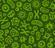 Microbes, Virus and Bacteria Green Seamless Pattern. Vector Stock Photo