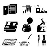 Microbiology analysis tests icons set. Silhouettes of microbiology icons set. Laboratory analysis, tests and equipment. Black and white vector illustration Royalty Free Stock Photo