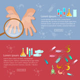 Microbiology banners microorganisms viruses and infections. Virology hygiene medical research vector Stock Photos