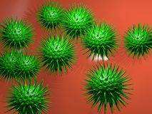 Microbiology concept. 3D illustration of viruses Stock Photo