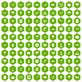 100 microbiology icons hexagon green. 100 microbiology icons set in green hexagon isolated vector illustration Stock Images