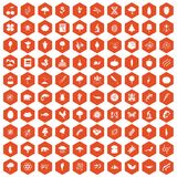 100 microbiology icons hexagon orange. 100 microbiology icons set in orange hexagon isolated vector illustration Vector Illustration