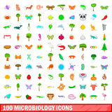 100 microbiology icons set, cartoon style. 100 microbiology icons set in cartoon style for any design vector illustration Stock Image