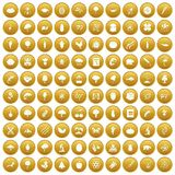 100 microbiology icons set gold. 100 microbiology icons set in gold circle isolated on white vectr illustration stock illustration