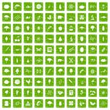 100 microbiology icons set grunge green Royalty Free Stock Photos