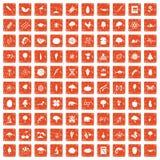 100 microbiology icons set grunge orange. 100 microbiology icons set in grunge style orange color isolated on white background vector illustration Stock Photo